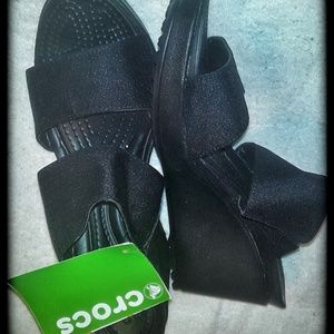 CROCS Wedge Sliider size  8w Black